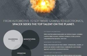 Página de recrutamento de talentos da SpaceX – Engenharia de Software é a primeira da lista.