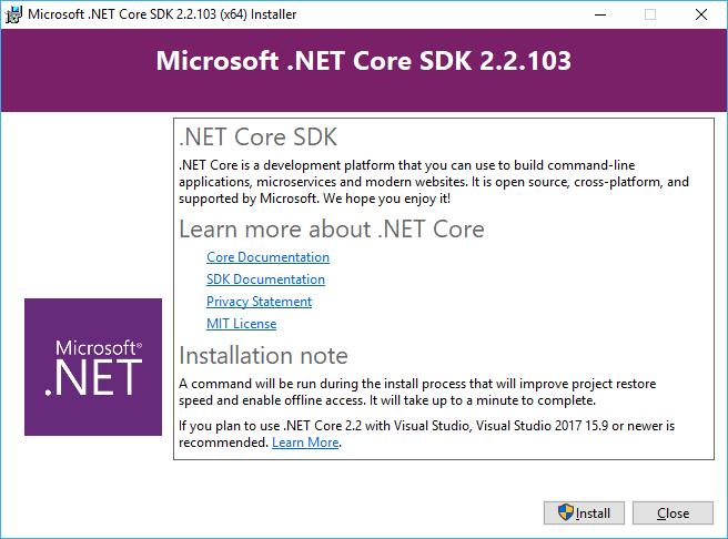 Primeira tela do instalador do .NET Core