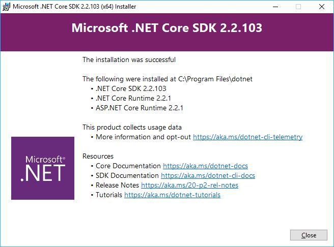 Tela do instalador do .NET Core após instalação concluída
