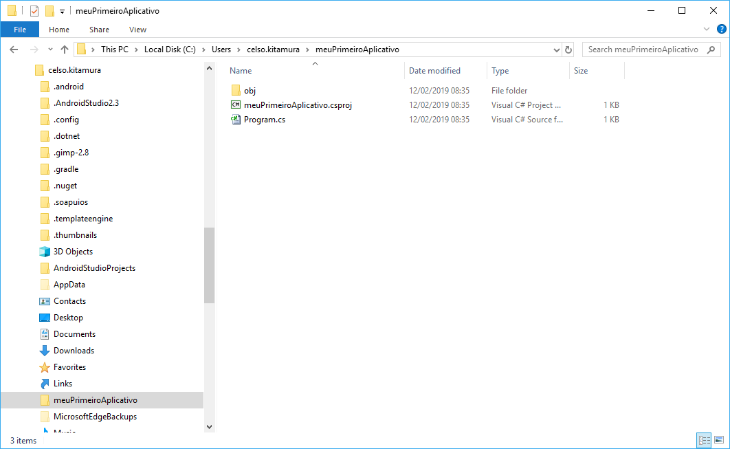 Conteúdo do diretório meuPrimeiroAplicativo visto do Windows Explorer