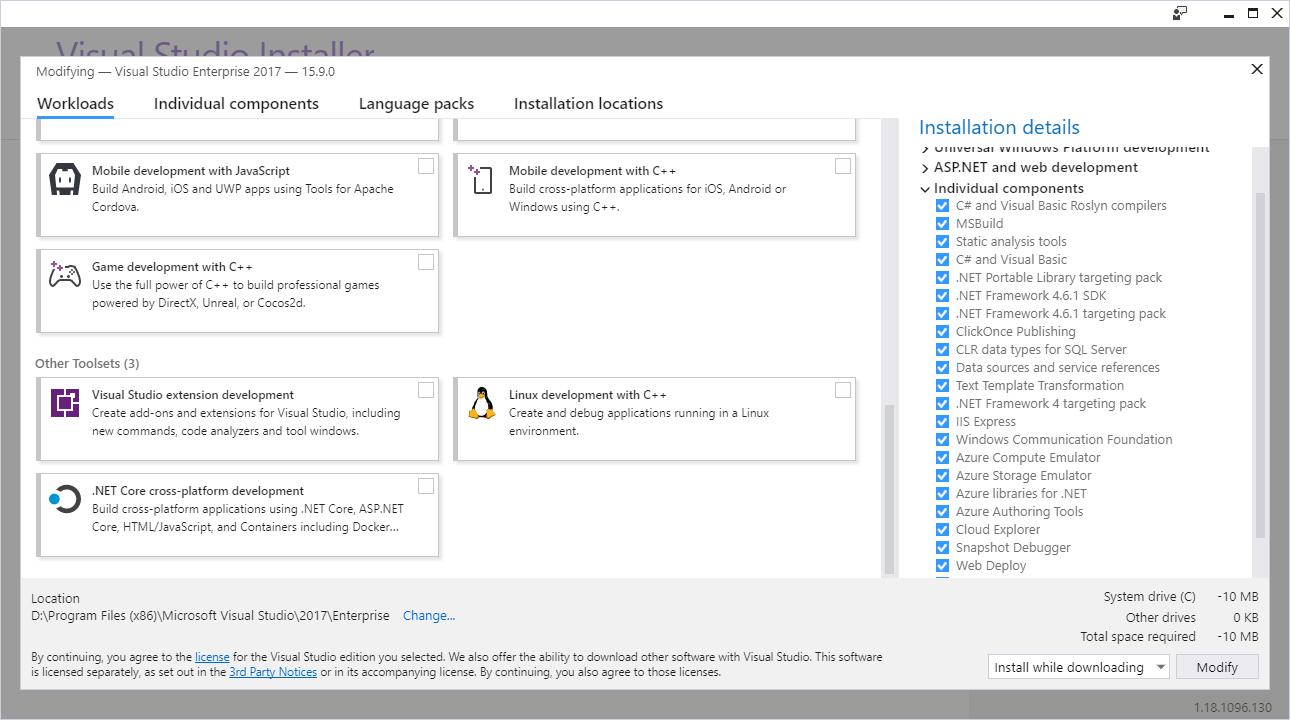 Tela de instalação do Visual Studio. Repare na opção .NET Core cross-platform development.