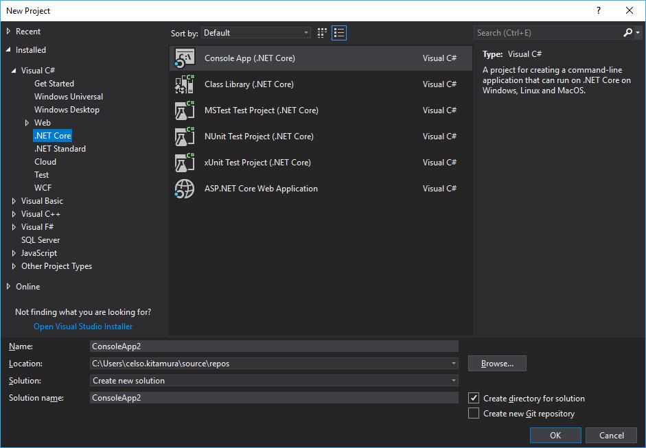 Tela Novo Projeto do Visual Studio. Veja as opções de templates para o .NET Core