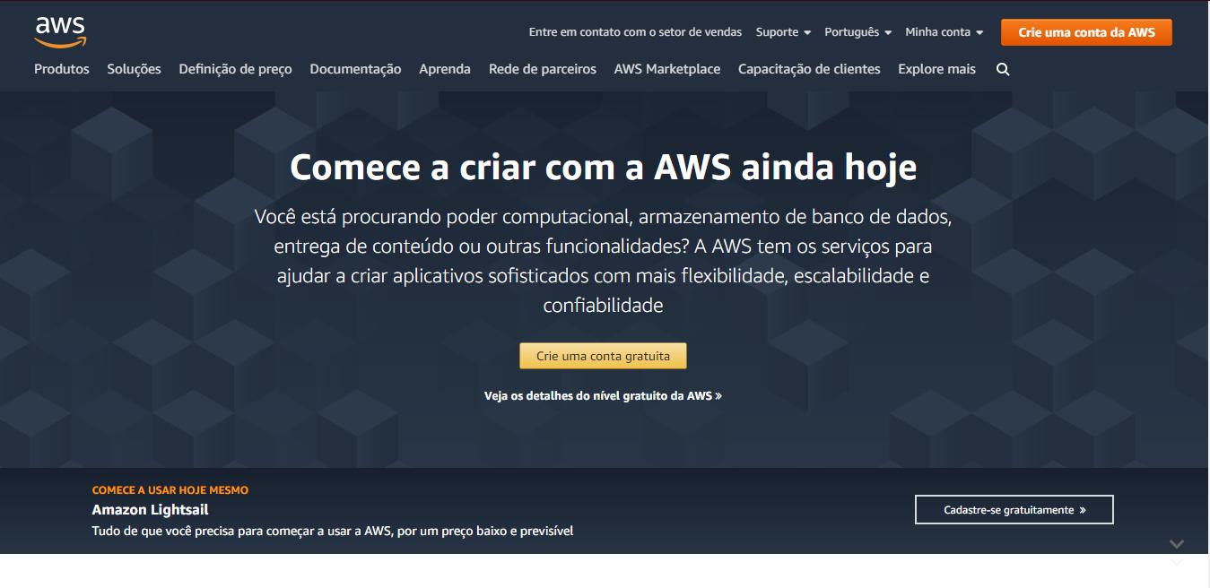 Home Page da AWS - Como Abrir Uma Conta Na AWS