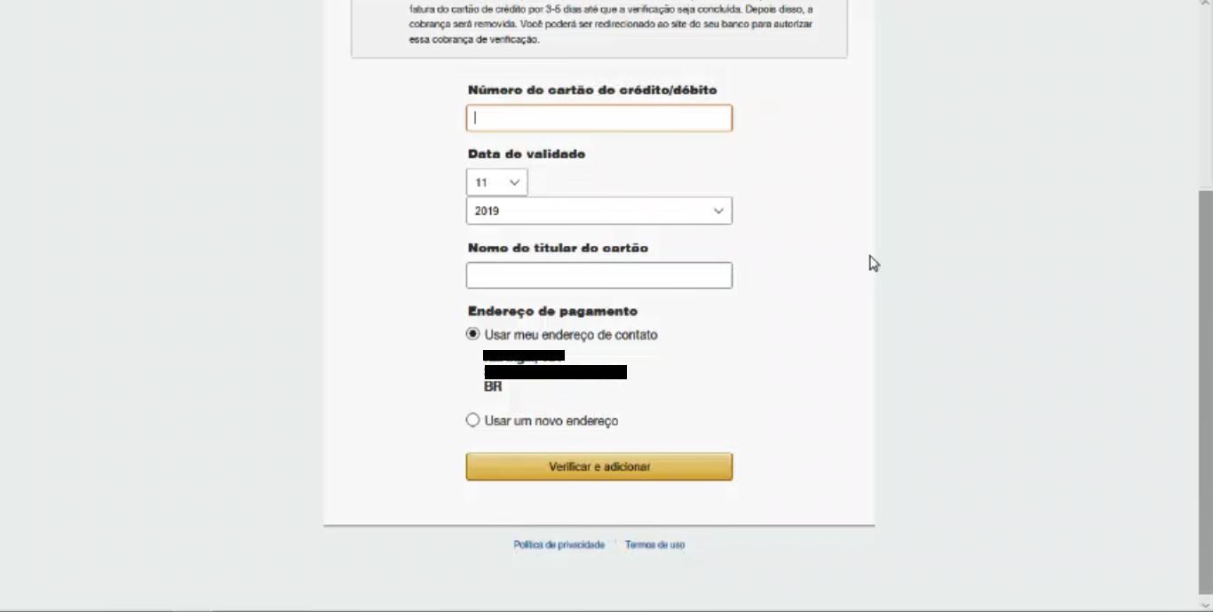 Informações de Pagamento - Como Abrir Uma Conta Na AWS