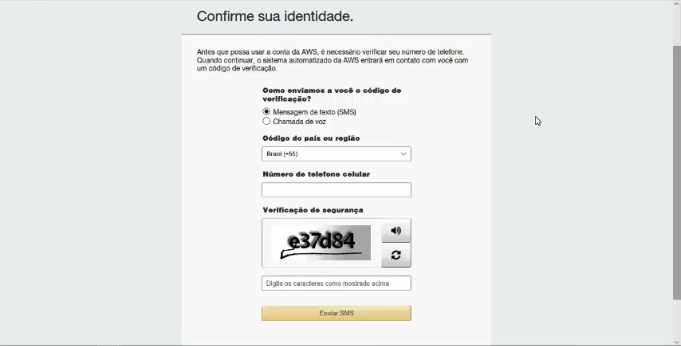 Confirmando a Identidade - Como Abrir Uma Conta Na AWS