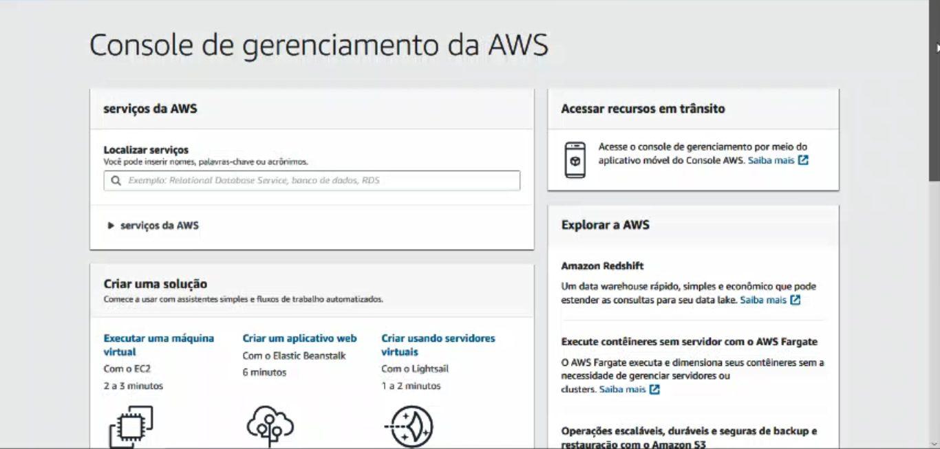Console de Gerenciamento - Como Abrir Uma Conta Na AWS