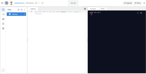 Tela inicial do projeto - Seu Primeiro Programa Javascript