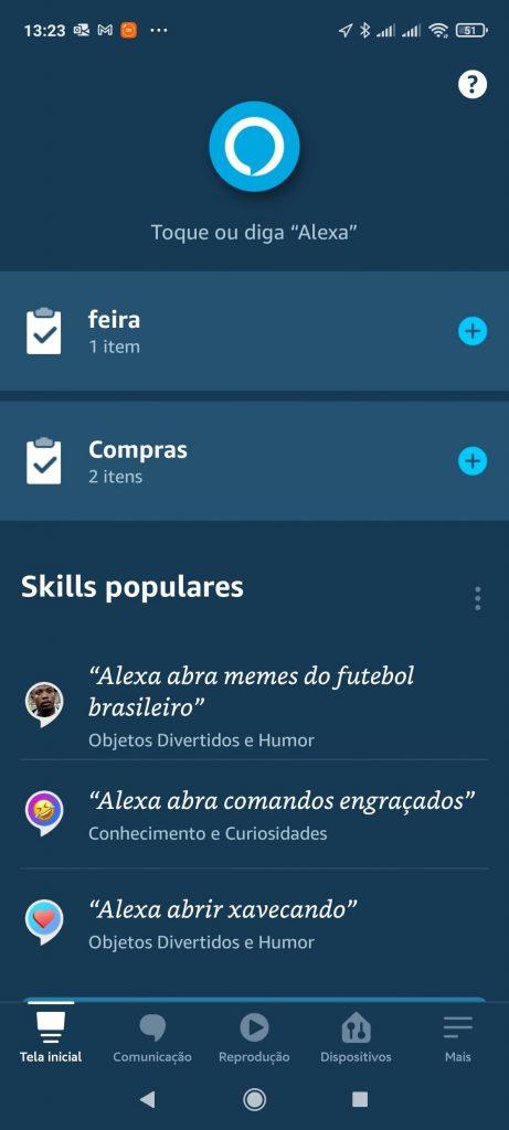 Clique na aba Mais - Faça Sua Lista De Compras Com Alexa