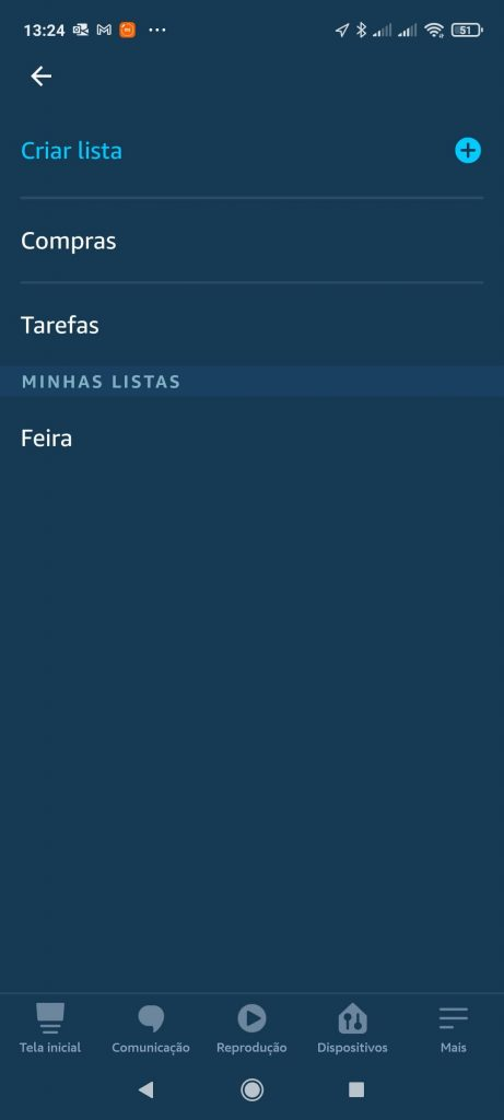 Clique em Criar Lista - Faça Sua Lista De Compras Com Alexa