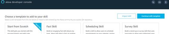 Botão Continue with template - Crie Sua Primeira Skill Alexa - 2021