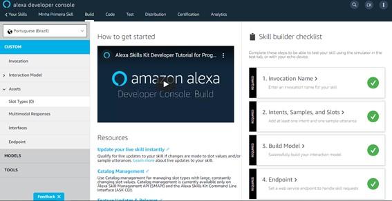 Tela inicial da skill - Crie Sua Primeira Skill Alexa - 2021