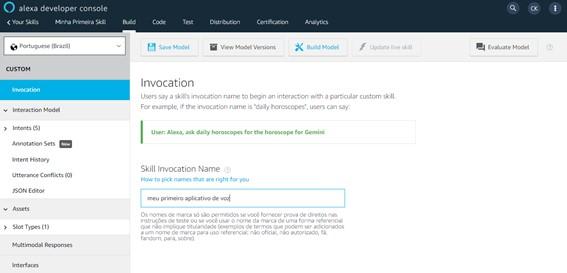Nome de invocação - Crie Sua Primeira Skill Alexa - 2021