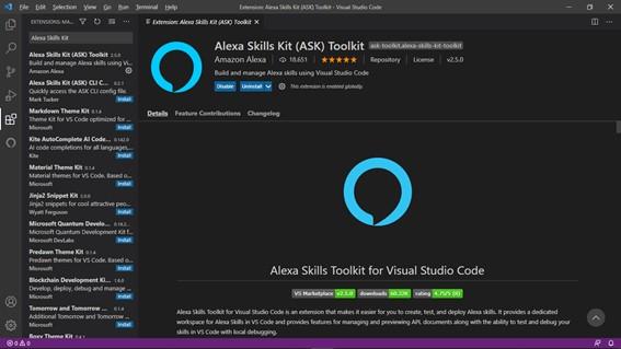 Instalando a Extensão do ASK - Crie Skills Com A Microsoft. Usando O VS Code Para Desenvolver Skills