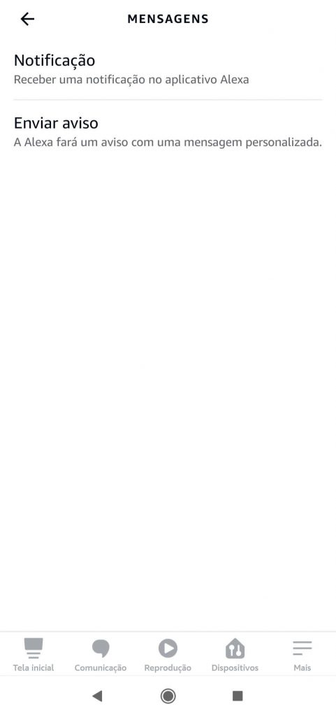 Tela Mensagens - Programe sua Rotina com Alexa