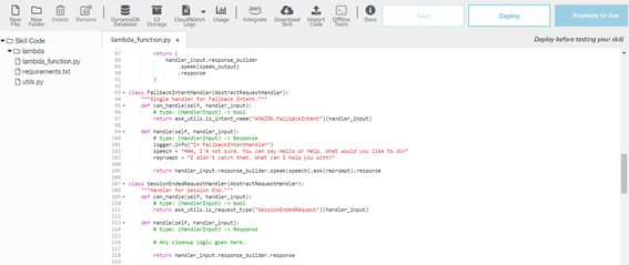 Código no Python - Como Tratar Erros Inesperados - FallbackIntent
